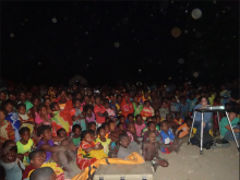 Approximately 1000 villagers came to see the film.